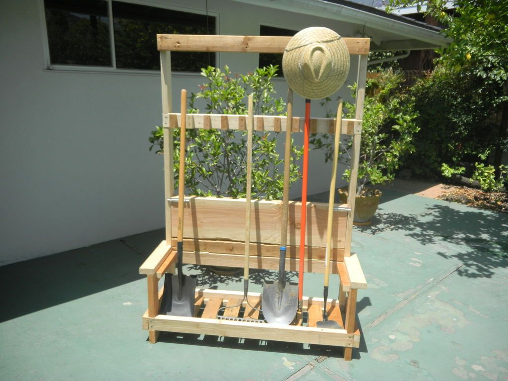 Garden Tool Rack With Foldable Bench Garden Tools