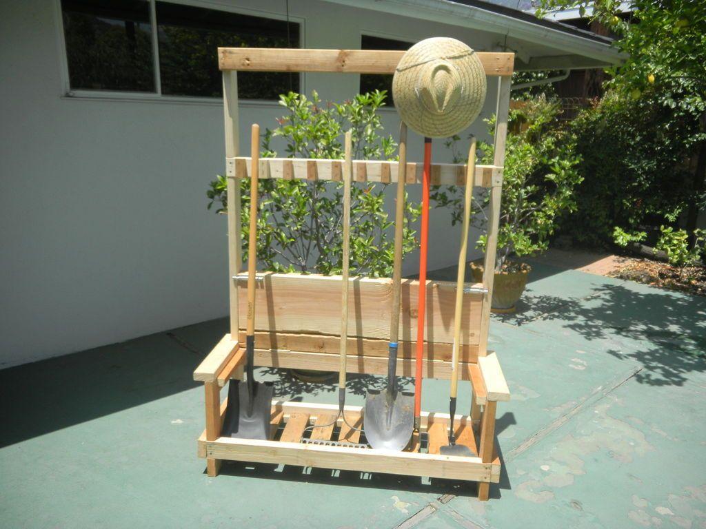 Garden Tool Rack With Foldable Bench Garden Tool Rack Garden