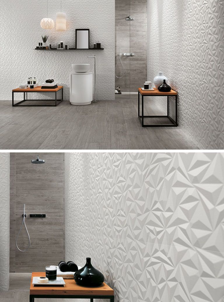 Bathroom Tile Ideas Install 3d Tiles To Add Texture To Your Bathroom The Geometric Shapes In Th Bathroom Tile Designs Bathroom Wall Tile Floor Tile Design