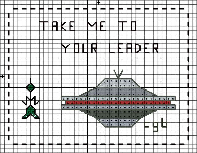 Free You're Out of This World Cross Stitch Pattern: Free Take Me To Your Leader Cross Stitch Chart