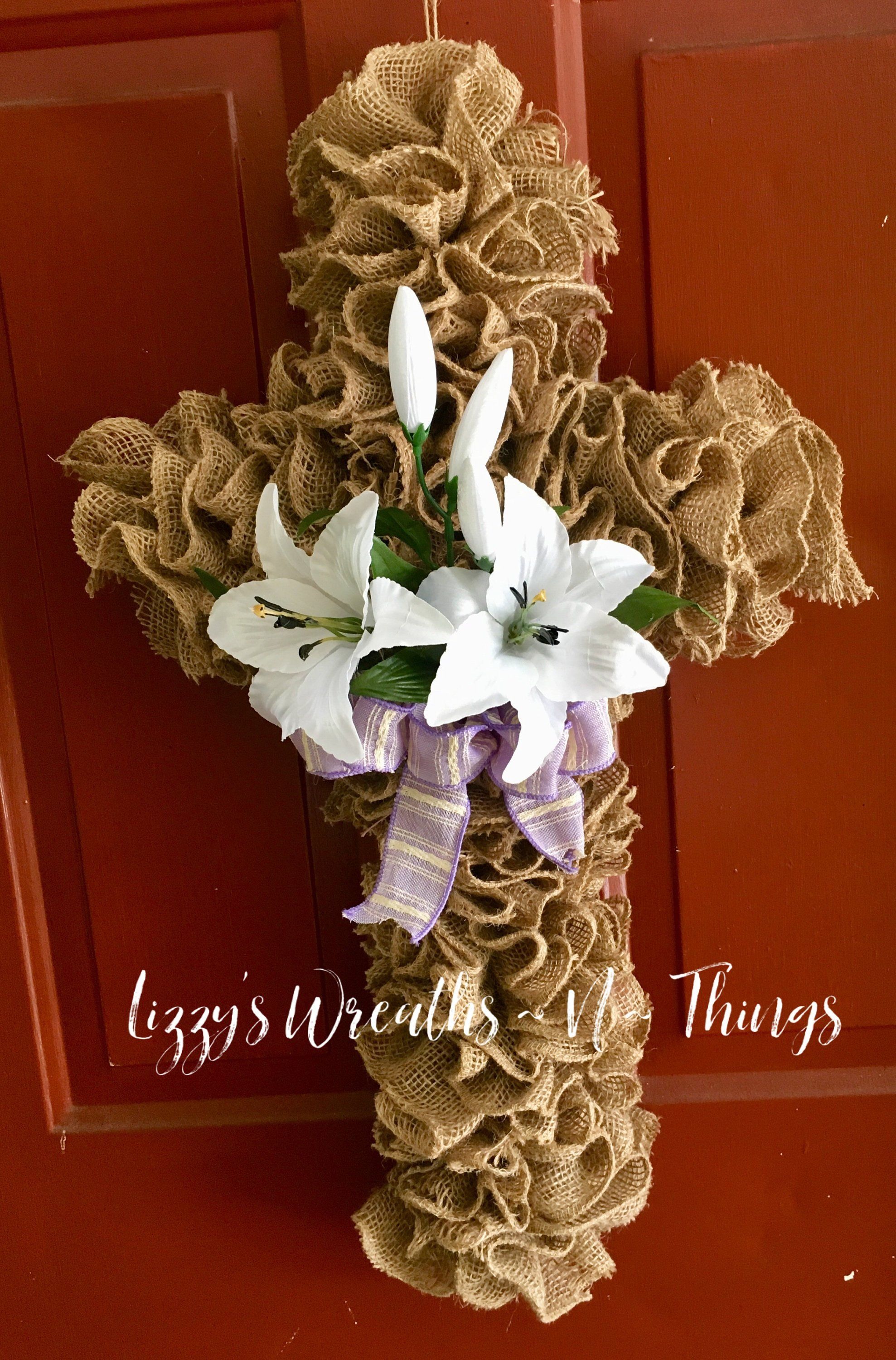 Photo of Rustic burlap cross wreath, commemorative burlap cross wreath, burlap cross wreath, white lily burlap wreath, peace lily wreath