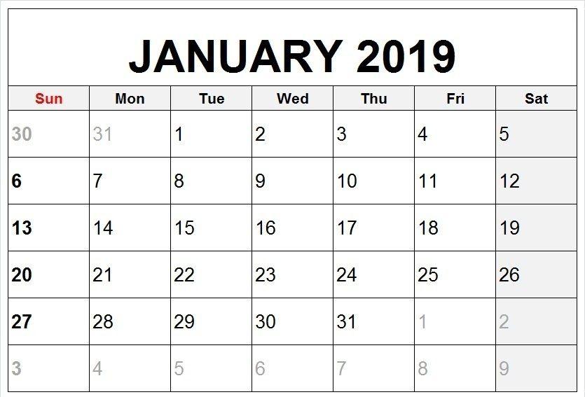 January 2019 Vertical Calendar to Print 250+ January 2019 Calendar