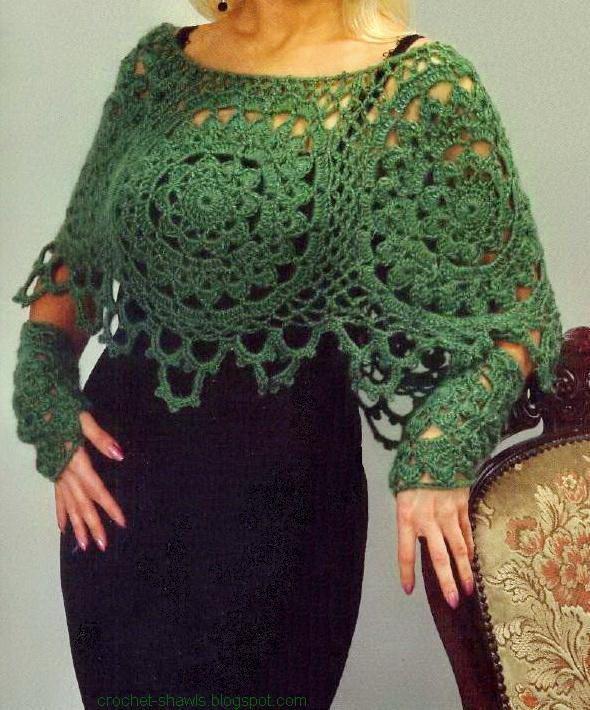 Poncho de la Mujer - Poncho de ganchillo patrón de crochet libre ...