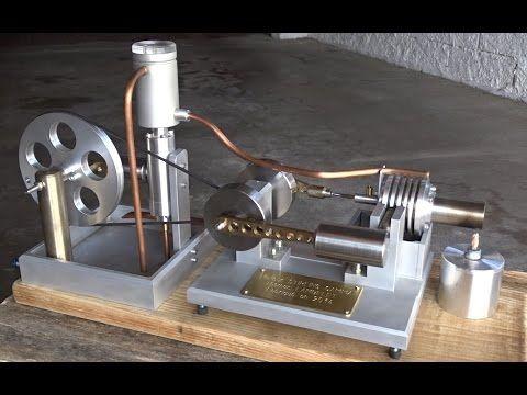 Moteur Stirling avec pompe à eau - Water cooled Stirling engine - plan fabrication eolienne maison