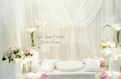 Pelamin/dais for solemnization or engagement,  pink, off white