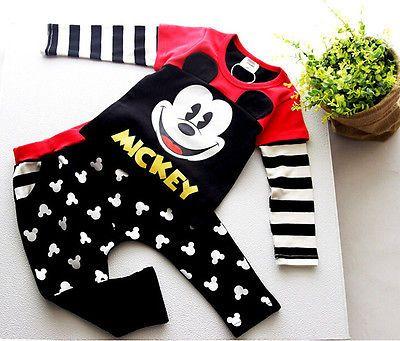 Fashion Cute Kids Baby Boy Girl Mickey Mouse Long Sleeve T-shirt Tops + Long Trousers Set 1-6Years