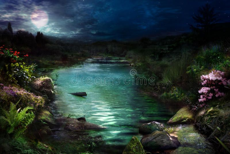 Night At Magical River Fantasy Night Scene Of The River And Vegetation Which Ca Affiliate River Fantasy Night Magica River Night Scene Stock Images