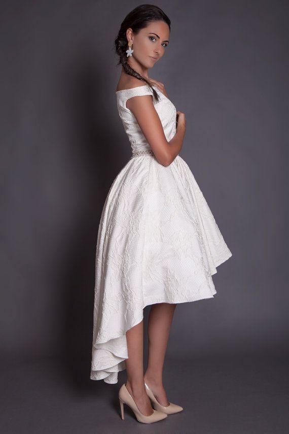 50s high low wedding dress in jacquard, ivory hi lo wedding dress ...