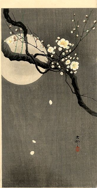 Branch and moon by Ohara Koson