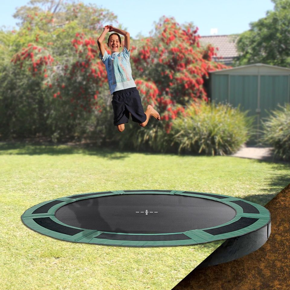 Keep Your Backyard Looking Stylish Whilst Letting The Kids Have Fun On An Oz Trampolines Inground Trampoli In Ground Trampoline Backyard Accessories Trampoline