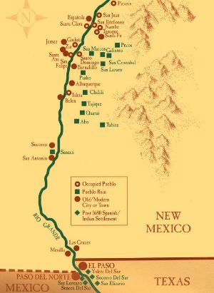 Pueblos New Mexico Map.Map Of Significant Towns And Pueblos During The Pueblo Revolt Of