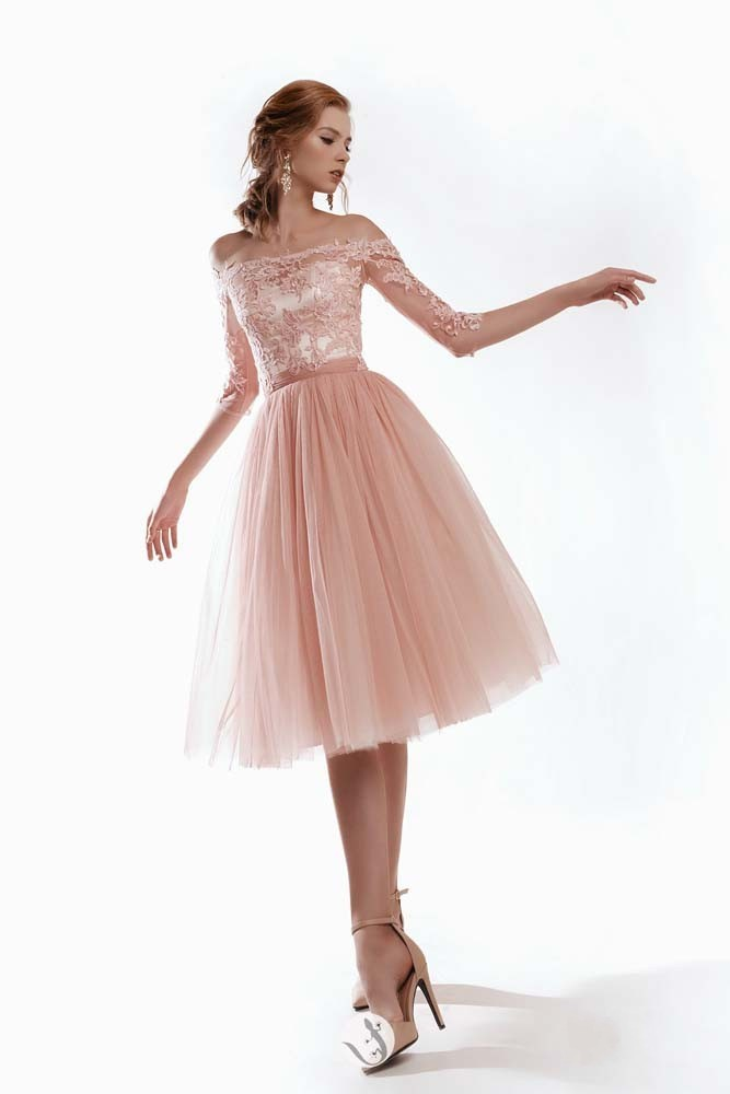 Off the Shoulder Lace Sleeves Pink Tulle Tea-Length ...