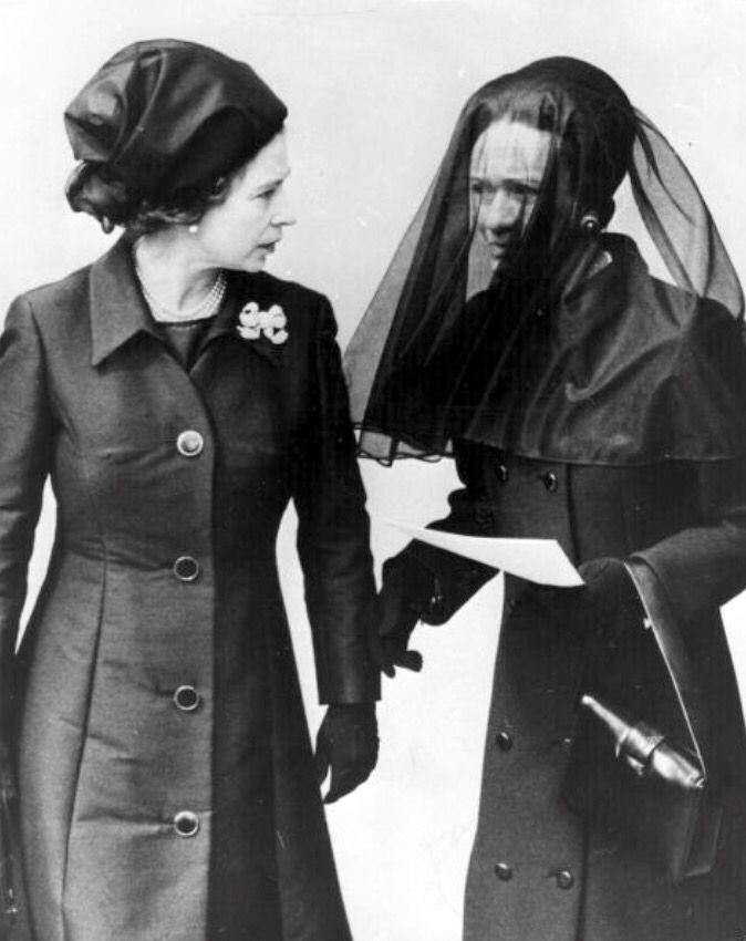 Hesitant reconciliation of H.M. Queen Elizabeth II and Wallis, Duchess of Windsor. (Formally Wallis Simpson) after the funeral of H.R.H. Prince Edward, Duke of Windsor, (formally H.M. King Edward VIII). June the fifth, 1972.