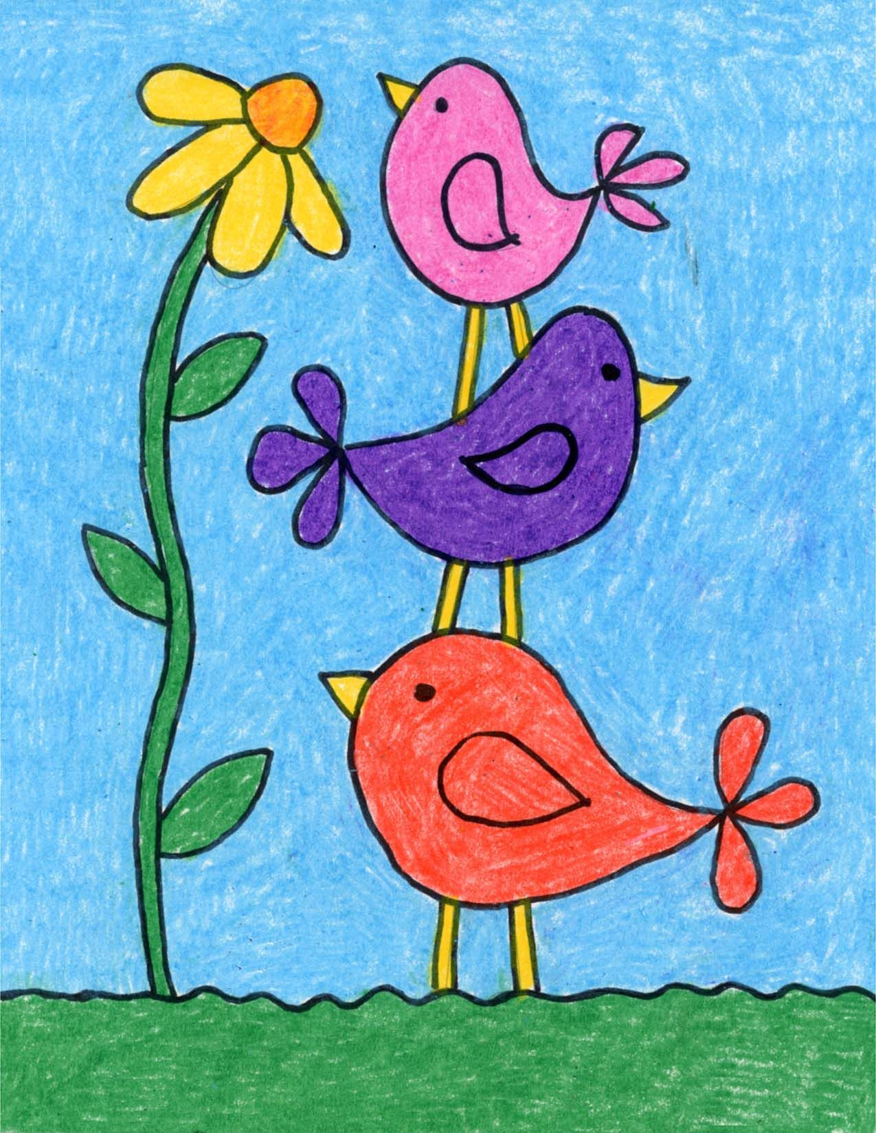 Draw Simple Birds Art Projects For Kids Bird Drawing For Kids Kids Art Projects Bird Drawings