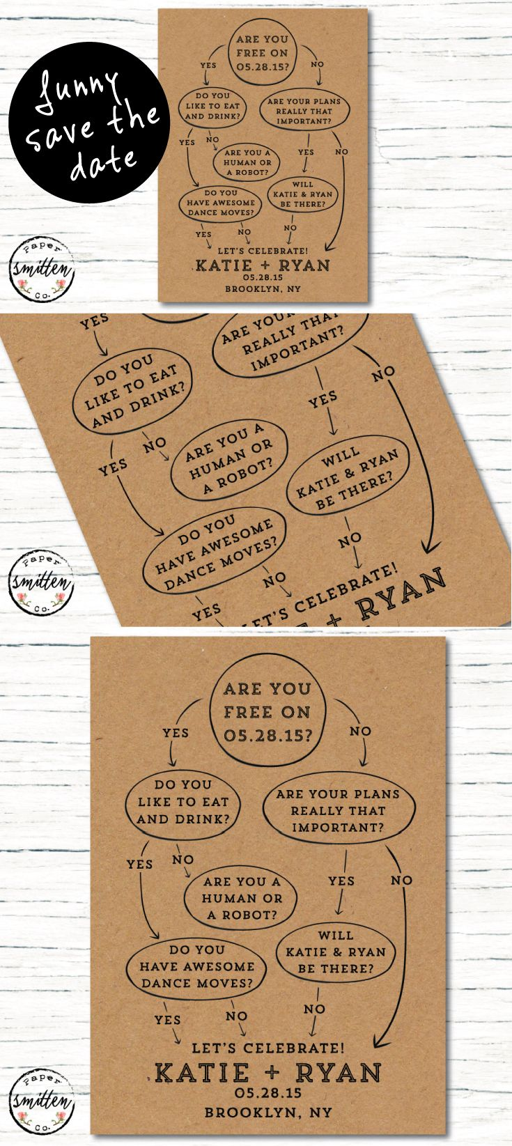 Funny Unique Handillustrated Save The Date Set The Tone For Your - Funny save the date templates free