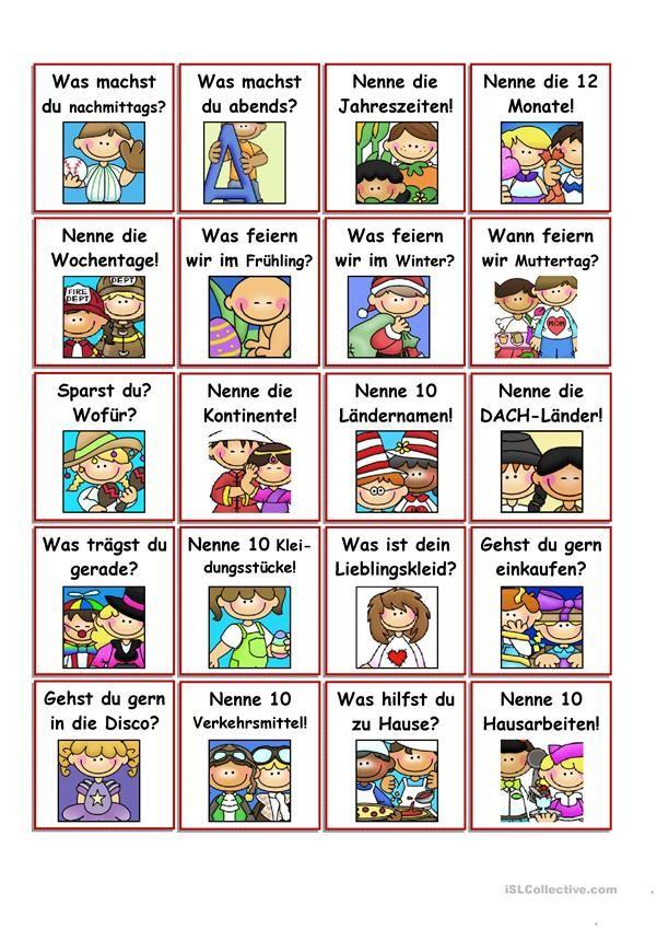 100 Fragekärtchen Deutsch lernen, Deutsch unterricht und