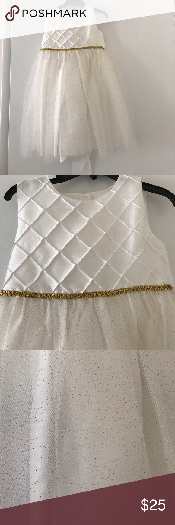 Cute White Dress Cute White Dress For Little Girls Size 4t Dress Has A Gold Trim And Light Gold Glitter In The Bottom H Cute White Dress White Dress Dresses [ 1740 x 580 Pixel ]
