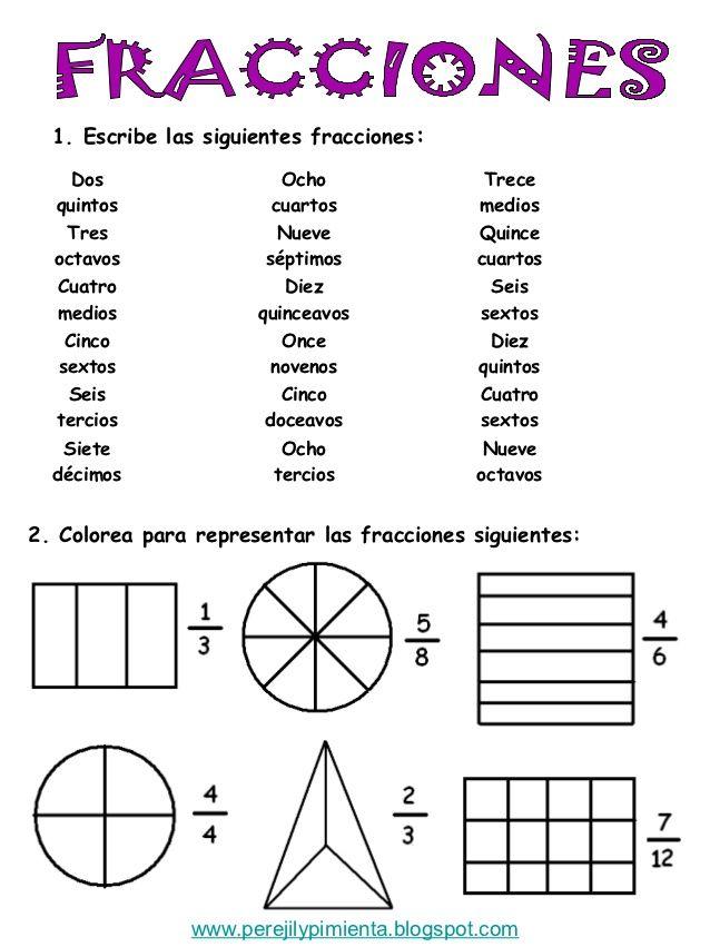 fracciones para cuarto grado - Buscar con Google | Matematicas ...