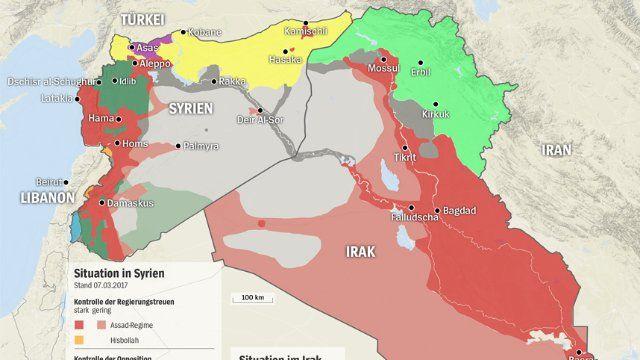 Kämpfende Gruppen in Syrien und Irak