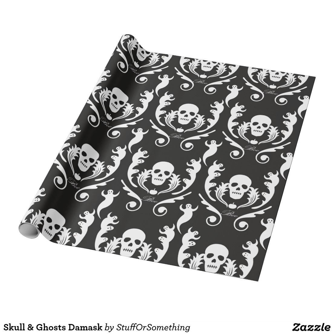 Skull & Ghosts Damask Wrapping Paper