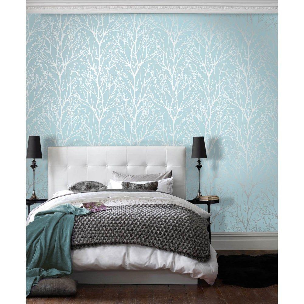 I Love Wallpaper Shimmer Tree Wallpaper Teal Silver | Wallpaper ...