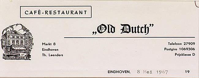 Café-restaurant Old Dutch. Th. Leenders. Huisnummer: 8.