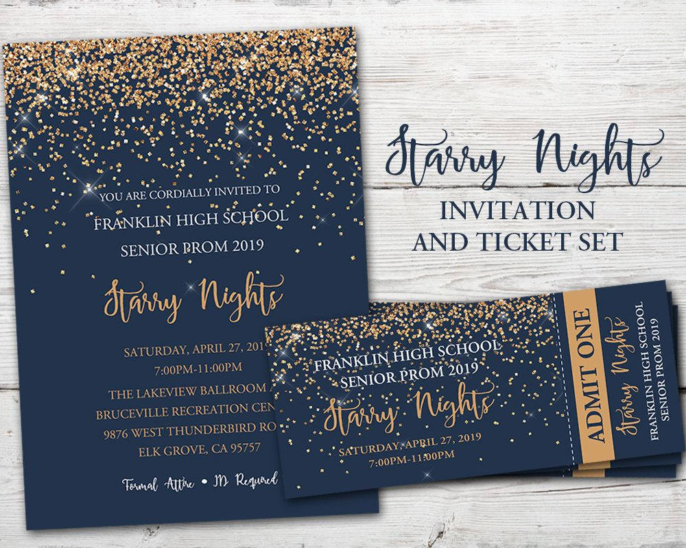 Starry Nights Invitation Starry Nights Theme Prom Etsy Starry Night Prom Prom Themes Starry Night Prom Themes