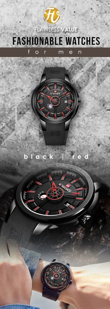 cbb33674468 NAVIFORCE 9107 Quartz Silicone shockproof waterproof Watches - Black Red  Limited Edition timepiece chronograph Watch Reloj