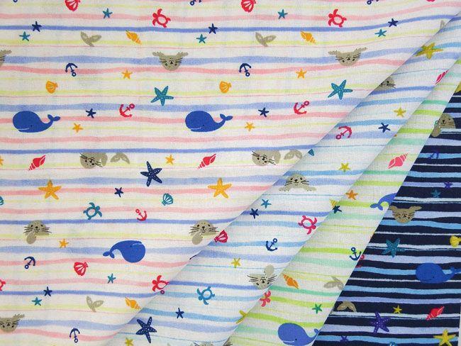 ▲綿(コットン) - 商品詳細 シーチングプリント クジラとアザラシ 110cm巾/生地の専門店 布もよう