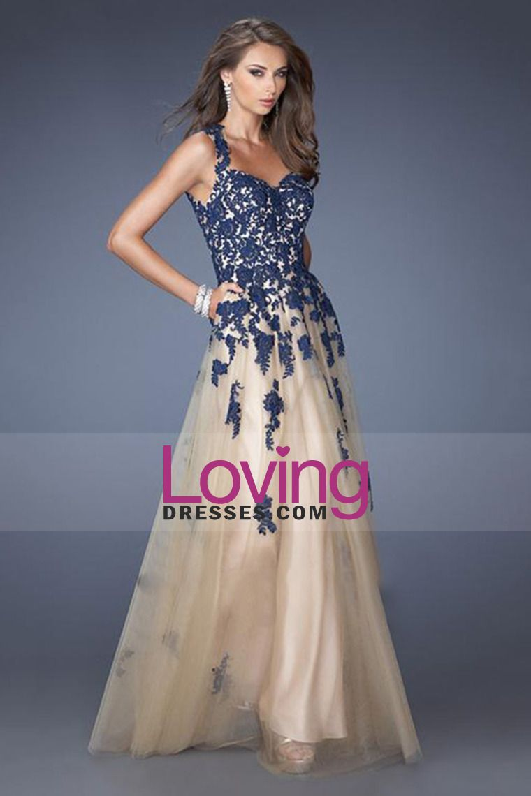 tulle prom dress straps open back floor length lace bodice with