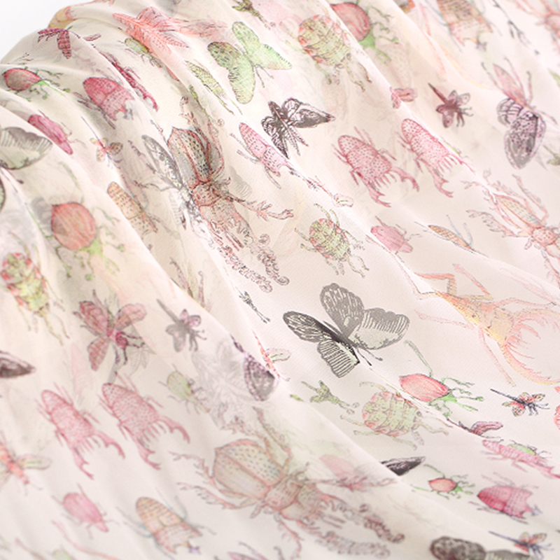 Insect Digital Printed Silk Chiffon Fabric Soft Transparent Tulle Fabric Thin Beach Dress Pure Silk Fabric Wh Silk Chiffon Fabric Silk Printing Butterfly Print