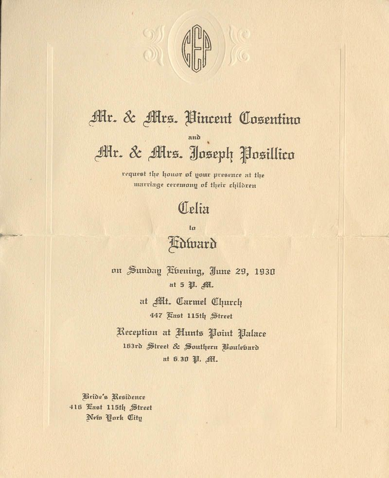 wedding invitation from 1930