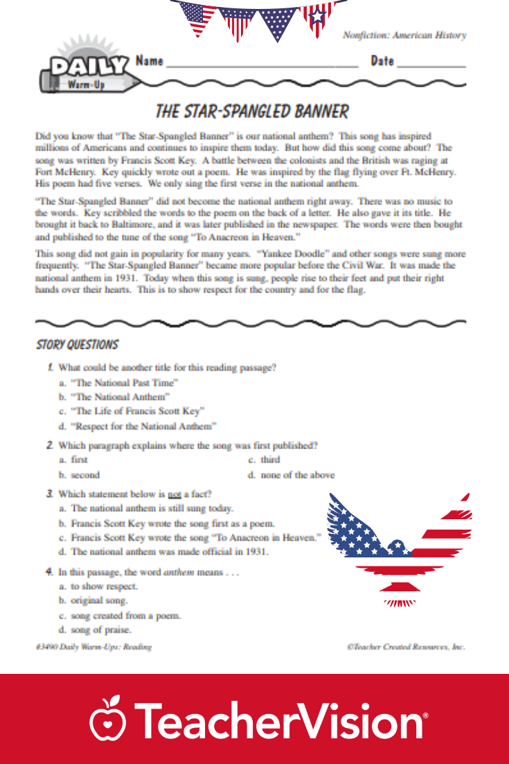 The Star Spangled Banner Reading Warm Up Star Spangled Banner Spangled Banner Nonfiction Reading Passages [ 1102 x 735 Pixel ]