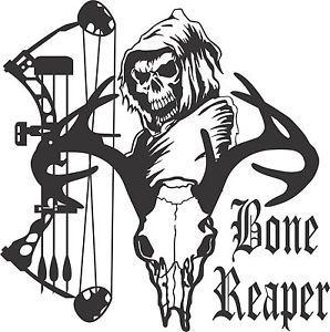 Bone Grim Reaper Bow Hunter Deer Skull Car Truck Window Vinyl - Bow hunting decals for trucks