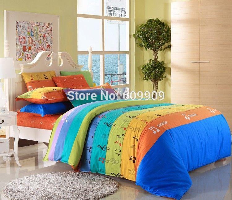 pas cher musique notes literie ensemble color filles enfants draps housse de couette simple. Black Bedroom Furniture Sets. Home Design Ideas
