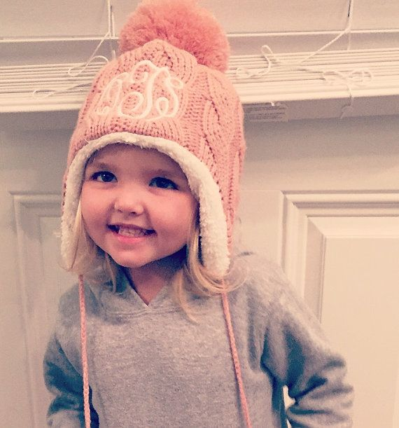 740bf75fd5b Monogrammed Toddler Winter Hat by SewChicNC on Etsy