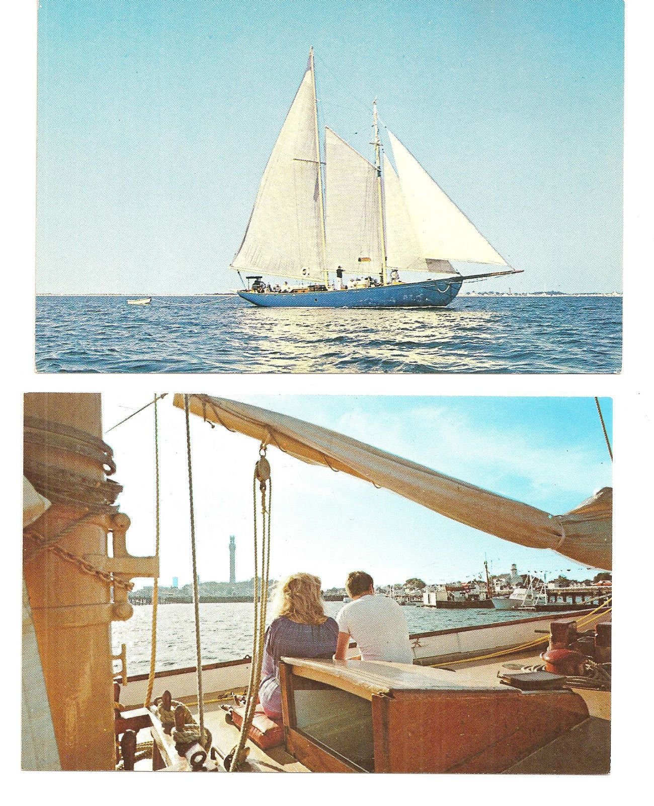 """2 Views Of Schooner """"Hindu"""" Out Of Provincetown MA Cape"""