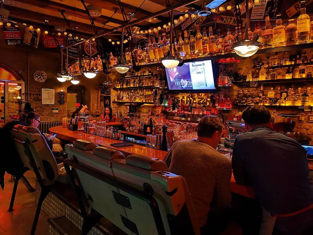 Fancy bar in the oldtown of Riga . The variety of