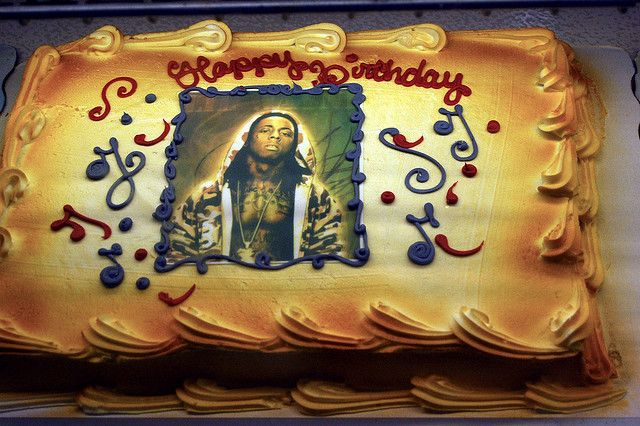 Birthday Cake With A Photo Of Lil Wayne On It