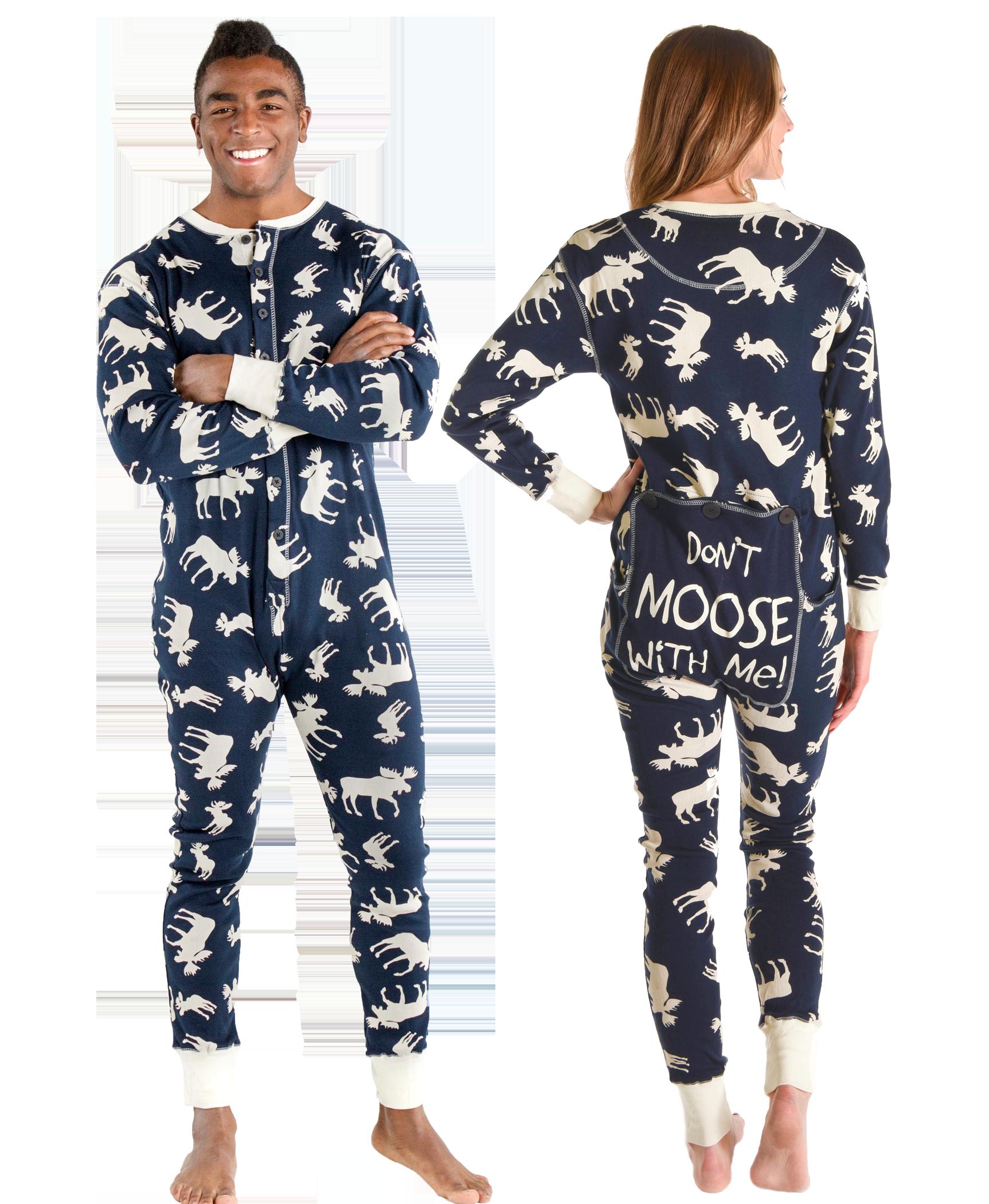 Classic Moose Blue Adult Onesie Flapjack Adult onesie