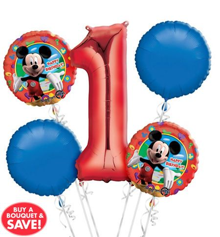 Mickey Mouse 1st Birthday Balloon Bouquet 5pc Party City Oh Two