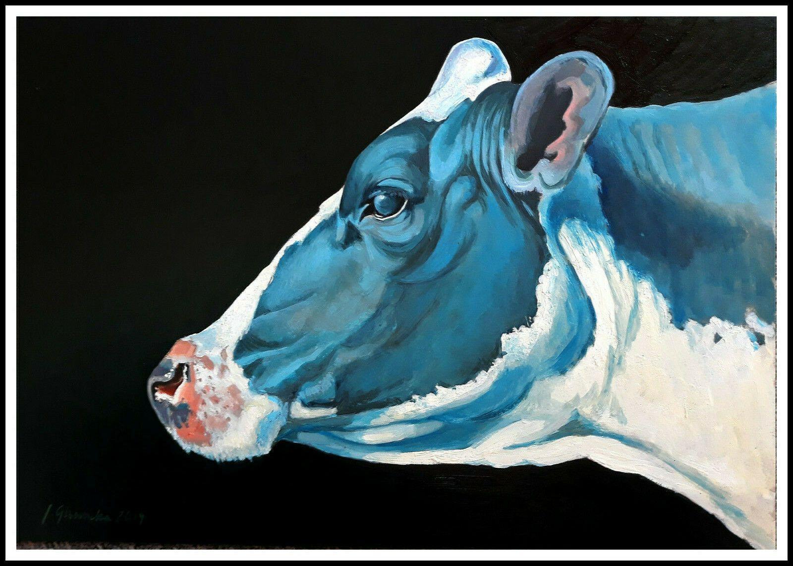 cow portrait original oil painting Oil painting