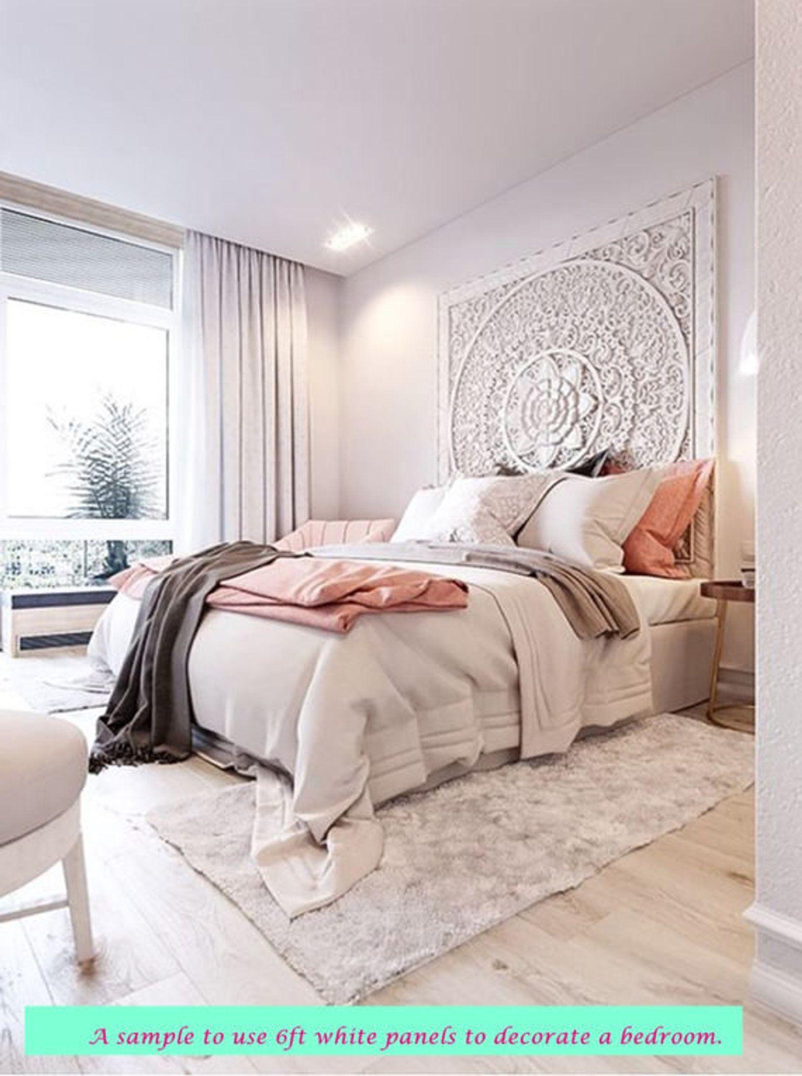 Large King Size Bed Headboard 71 Bohemian Lotus Mandala Wooden Hand Craved Craving Teak Wood Art Panel Panels White Wall Home Decor Thai Bedroom Design Bedroom Inspirations Bedroom Makeover