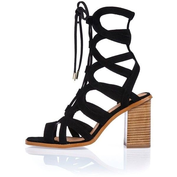 2021b2b082a River Island Black leather lace-up block heel sandals ($136 ...