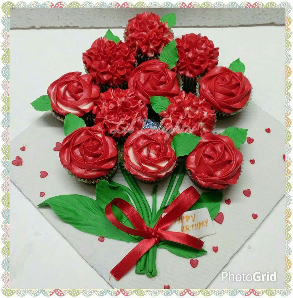 Cupcake flower bouquet cakes by lildelights pinterest cupcake flower bouquet izmirmasajfo
