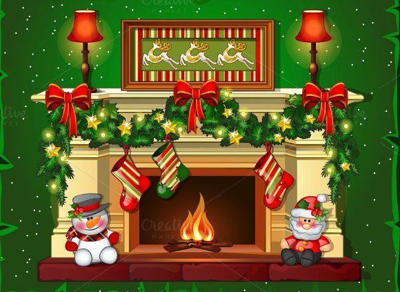 Burning Christmas Fireplace Christmas Fireplace Christmas Tree With Gifts Christmas