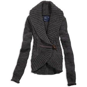 AE Women's Cable Knit Toggle Cardigan (Medium Heather Grey ...