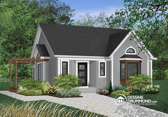 W2160 - Bungalow style Américain de 2 grandes chambres avec grande - plan maison avec cotation
