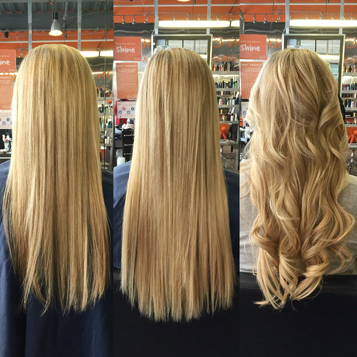 Before After And Curled Bombshell Tape In Extensions Hair We Do
