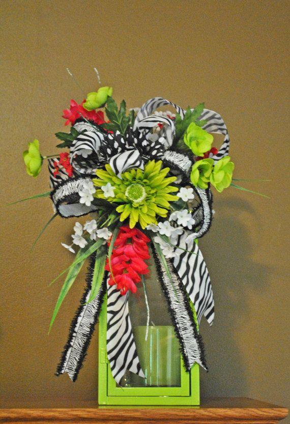 Zebra Lantern Swag Floral Arrangement by Trendy Wreath Boutique on sale now at Etsy.com $49.99 https://www.etsy.com/listing/154162223/zebra-floral-lantern-swag-lantern-swag